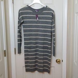 Zinni by Garnet Hill NWT Sweater Dress Stripe Gray